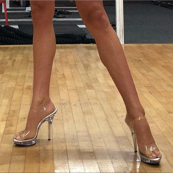8b62f9b6c90 Fabulicious Clear Bikini Competition Posing Heels.  M 5b96b18abf77290218188231